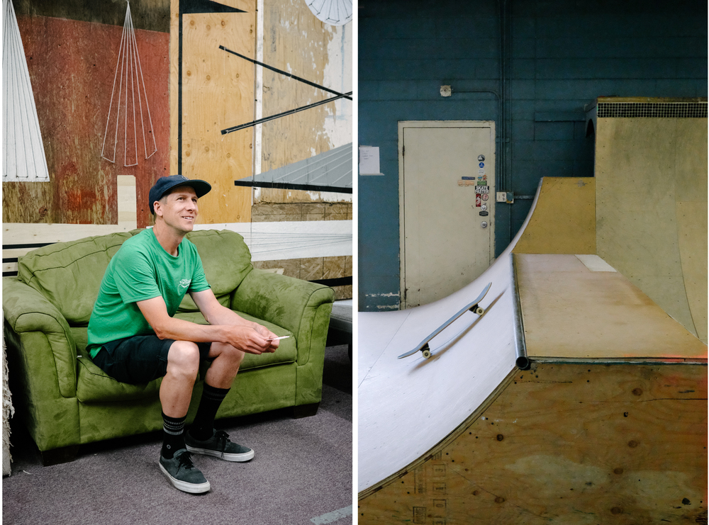 Andy Weiss, founder and executive director at Launch: Community Through Skateboarding, hangs out at the facility he helped establish.
