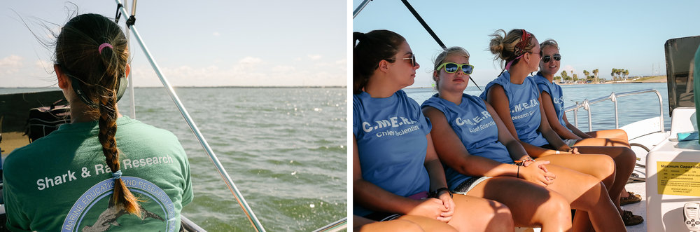 CMERA President Moriah Moore steers her boat into the Gulf of Mexico with her students.