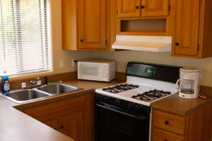 Cabins feature a kitchen