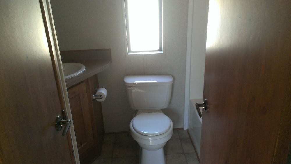 bathroom located inside the cabin