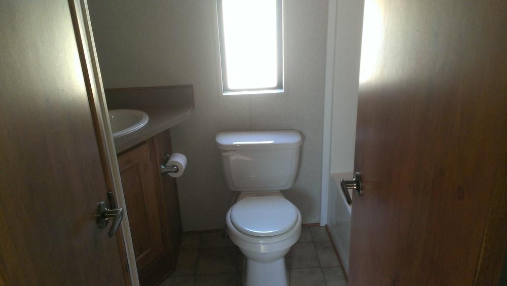 bathroom located inside the cabin