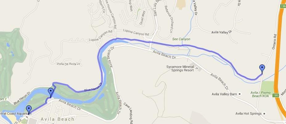 Map of Bob Jones trail from Avila Hot Springs