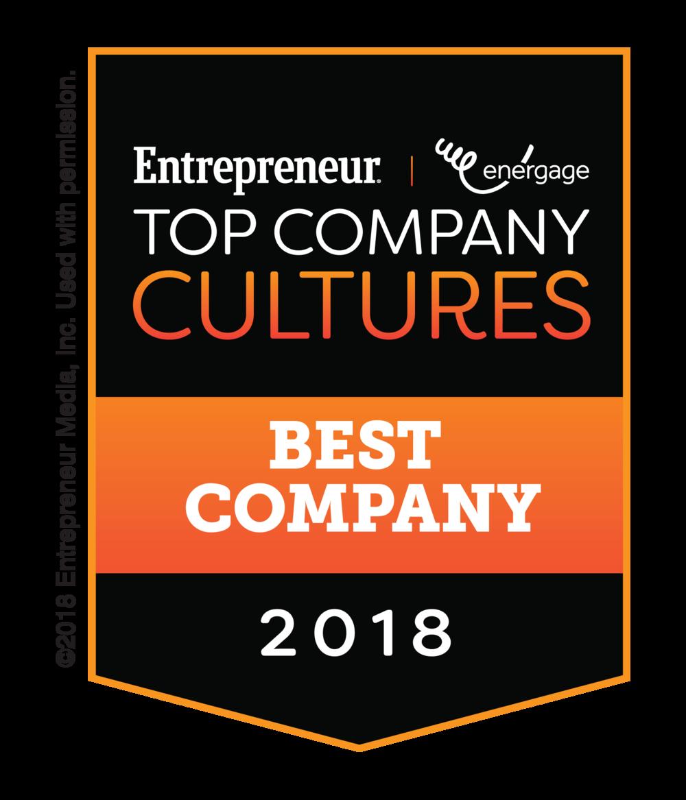 Entrepreneur Top Company Cultures 2018