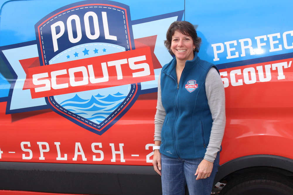 Tiffiny Consoli in front of Pool Scouts van