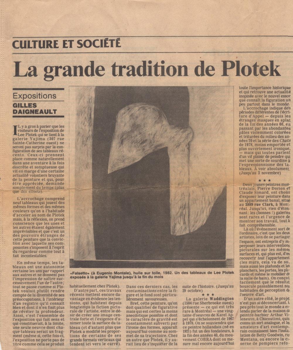 Le Devoir, samedi 22 octobre 1983