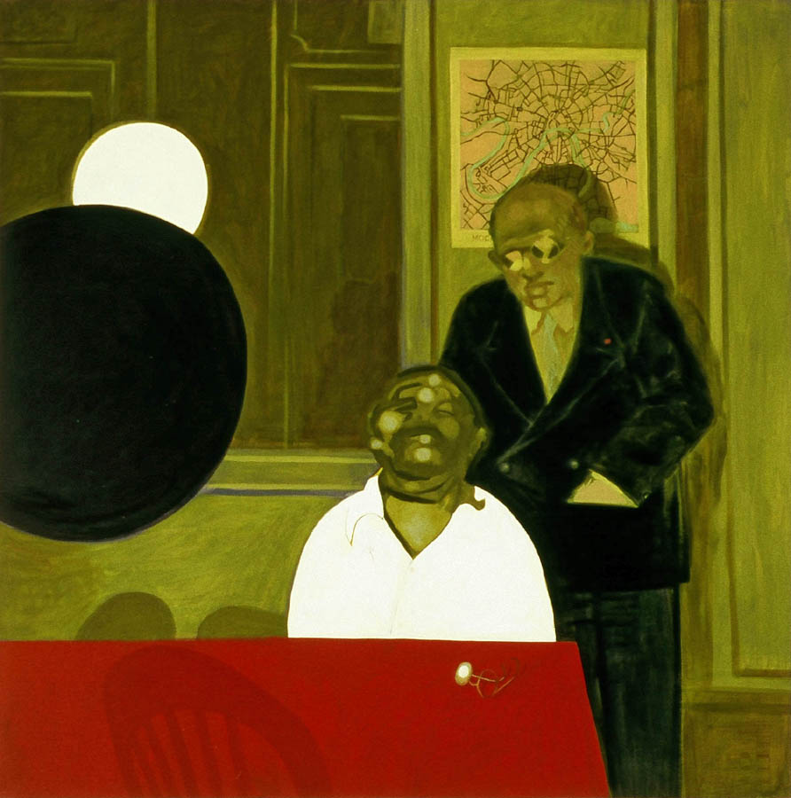 Master of the genre of Silence (Isaac Babel & Beria) , Oil on canvas, 2002