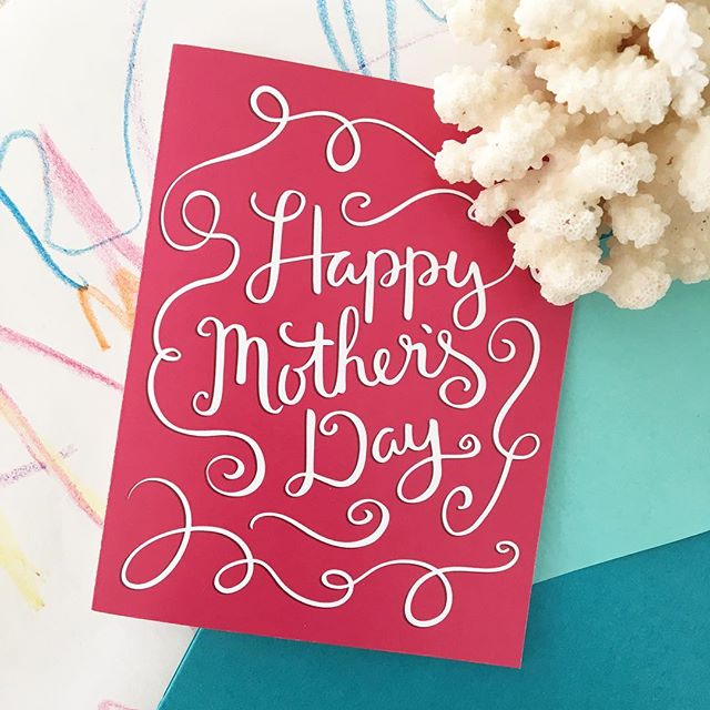 Sending out some cards today. 😊💌 Need a last minute card? Use code SUPERMOM to get any card in my shop half off! . #mothersday #card #sale #mom #loveher #cards #lettering #handlettering #flourish #love #handmade #calligraphy #etsy #etsyshop #etsyfinds #etsyscout #mompreneur #scatterbrain
