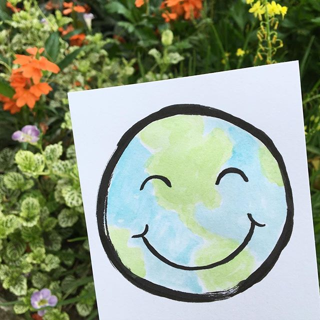 Happy Earth Day!! 🌎🐛 . #earth #earthday #earthday2016 #bekind #happy #recycle #nature #naturelovers #hippie #smile #smiley #watercolor #flowers #brushpen #doodle #illustration #mothernature #mom #scatterbrain
