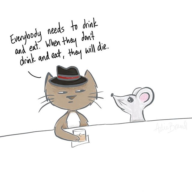 My sister gave me the great idea of turning the funny thing Skye said into a cartoon. 😄 . #kidssaythedarndestthings #illustration #cartoon #doodle #procreate #procreateapp #cat #mouse #bar #funny #kids #procreateart #momlife #scatterbrain