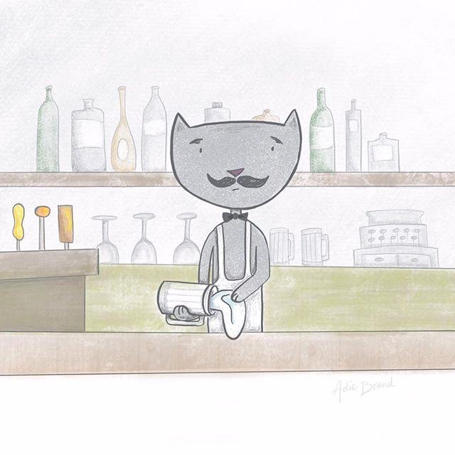 More illustrating on the iPad. Seriously addicted! . #procreate #procreateapp #illustration #cat #bartender #happyhour #moustache #wine #beer #bar #doodle #havingfun #procreateart #ipadpro #applepencil #art #mompreneur #catstagram #catsofinstagram #cats #scatterbrain