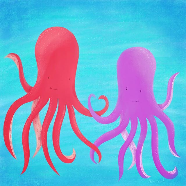 Octo love ❤️ . #procreate #ipadpro #applepencil #octopus #illustration #procreateapp #procreateart #love #ocean #dowhatyoulove #childrensbook #childrensbookillustration #mompreneur #cute #happy #lovers #lovenature #sealife #scatterbrain