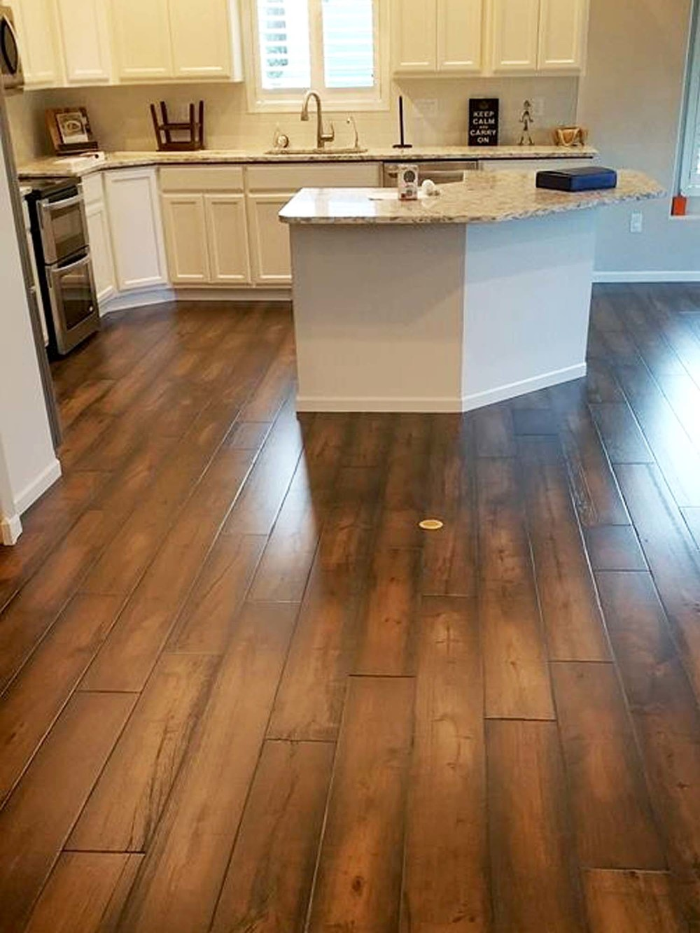 A gorgeous pre-engineered wood floor for the kitchen