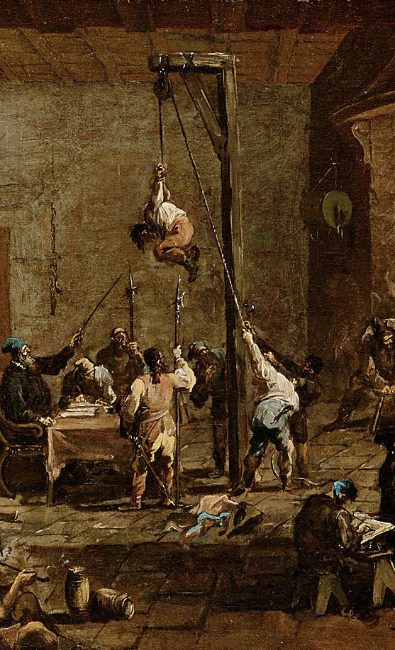Alessandro Magnasco, Interrogations in Jail, detail, circa 1710/1720