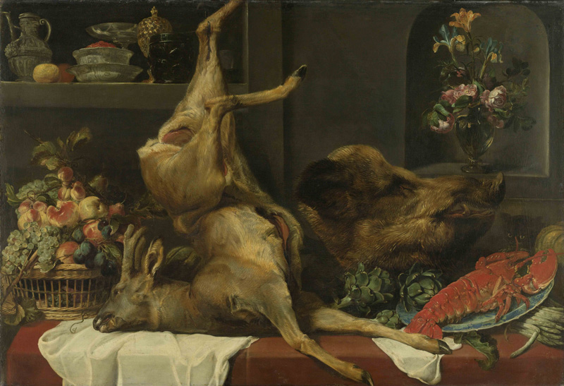 Frans Snyders, Still Life with a deer, a boar's head, fruits and flowers, 1640/1657