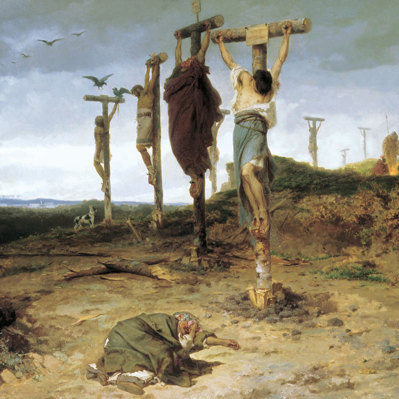 Fyodor Bronnikov, Cursed Field. The Place Of Execution In Ancient Rome. Crucified Slave 1878.   PLACEMENTS: 1 ARM, CHEST, NECK & ABS | ARMS, CHEST & ABS | ARMS, CHEST, ABS & BACK | THIGHS | BACK & ARMS |BODYSUITE |