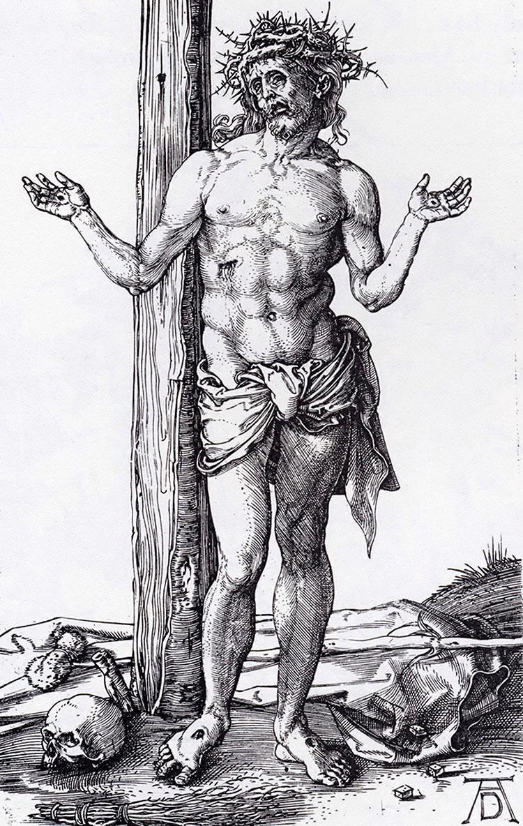 Albrecht Durer, Christ as the Man of Sorrows, 1500.   PLACEMENTS:  CHEST & ABS |1 ARM, CHEST, NECK & ABS | ABS & THIGHS | BACK, 1 ARM & HEAD |