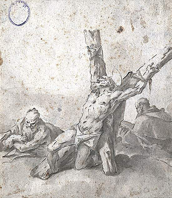 Gaspare Diziani, St Andrew tied to the cross in front of two readers, circa 1689/1767.   PLACEMENTS:  CHEST & ABS | 1 ARM, CHEST, NECK & ABS | HEAD | HEAD & NECK | FOOT & ANKLE |