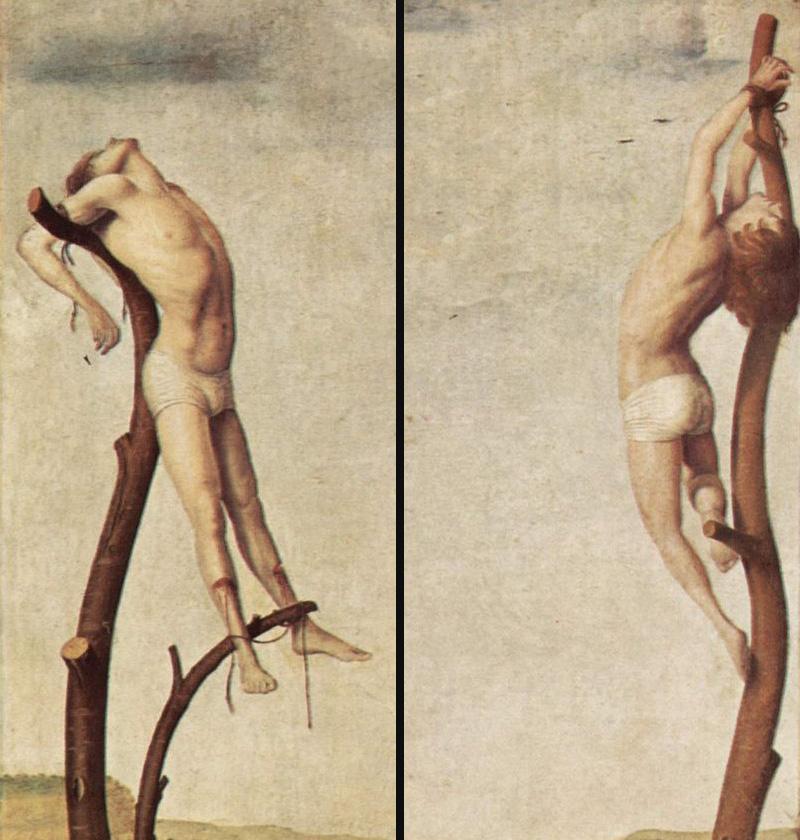 Antonello da Messina, Crucificação, 1475?, detalhe 1 + detalhe 2 .   PLACEMENTS:  BACK | CHEST & ABS | CHEST, ABS & LEGS | 1 ARM, CHEST, NECK & ABS | BACK & NECK | ARMS, CHEST & NECK | 1 ARM, CHEST & NECK | THIGHS | BACK & ARMS | 1 ARM, BACK & HEAD | ARMS |