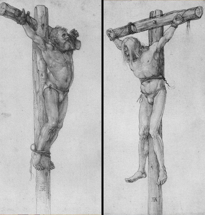 Albrecht Dürer, The Good Thief, 1505? + The Evil Thief .   PLACEMENTS: BACK | CHEST & ABS | CHEST, ABS & LEGS | 1 ARM, CHEST, NECK & ABS | BACK & NECK | ARMS, CHEST & NECK | 1 ARM, CHEST & NECK | THIGHS | BACK & ARMS | 1 ARM, BACK & HEAD | ARMS |