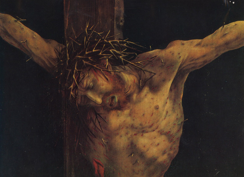 Matthias Grunewald, The Crucifixion, Isenheim Altarpiece, face detail 1512/1515.   Placement:  HEAD | HAND | ARM | THIGH | CHEST, ABS & LEG | BACK & GLUTES | BACK, NECK, GLUTES & THIGH | CHEST, ABS, BACK & LEG | BODYSUITE |