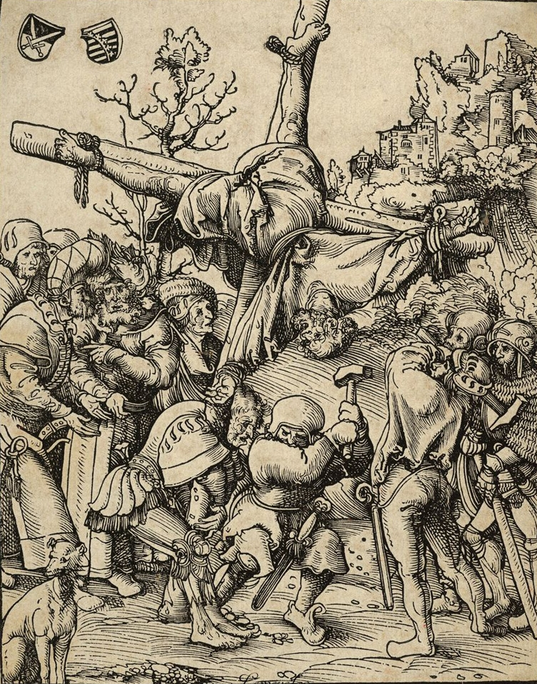 Lucas Cranach the Elder, Peter from the Martyrdom of the Twelve Apostles, circa 1512.   PLACEMENTS:  BACK | CHEST, ABS & LEGS | 1 ARM, CHEST, NACK & ABS | BACK & HEAD |
