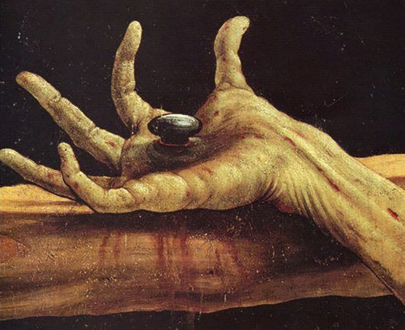 Matthias Grünewald, The Crucifixion, Isenheim Altarpiece, hand detail, 1512/1515.   Placement: