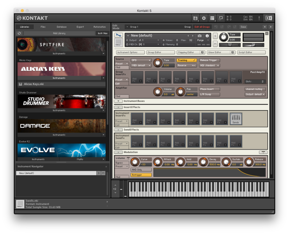 Fig. 4 - This is what you should see after you click the wrench icon on the top left of a new instrument.