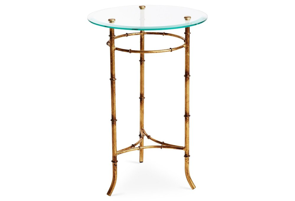 Beau Antique Gold Bamboo Side Table