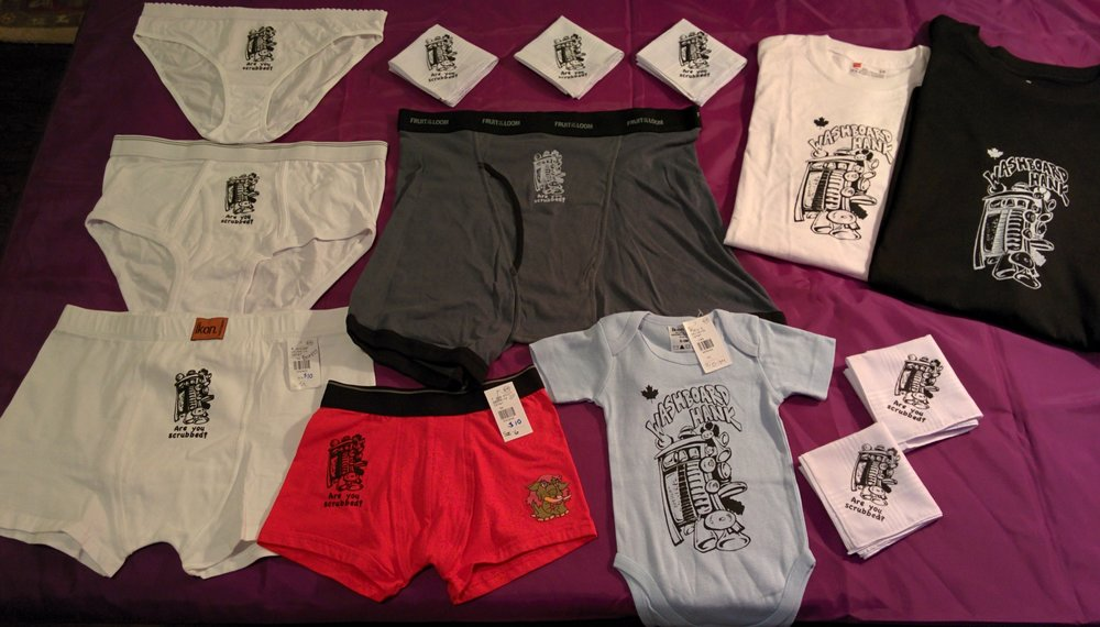 T-shirts $20.  Baby Onsies $15.  Hankies $5.  Underwear $10. Purchase by contacting through email or Facebook