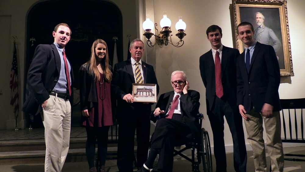 Dr. Futch with student members of the Futch Forum at the inaugural lecture in Lee Chapel by South Carolina Congressman Joe Wilson '69.
