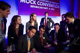 Mock Con 2016 Leadership on the phone with Donald Trump, the school's now correctly predicted nominee
