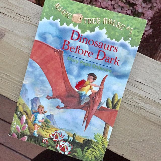 "I am introducing the first of this amazing series of books ""The Magic Tree House -- Dinosaurs Before Dark"" by Mary Pope to my rising Kindergartner (as I did his older sister) as we began to explore chapter books. Also excited to be sharing it today as part of this months #littlelitbookseries theme ""Books That Take You Places"". While this particular book takes brother and sister, Annie and Jack on an unexpected trip (via a magic treehouse) back to Jurassic times, the books from this series will take its readers to places around the globe, back in time, and to the future!  Check out some other great books that take will you places via these awesome #kidlit #bookstagrammers:  @averyandaugustine @bonjour_mes_amies @bookbloom @carterhiggins @gigglegirlsbookclub @juliasbookbag @kidlitbookaday @littlebooksbigworld @live_read_write @ourbookbag @picturethisbook @sunlitpages @teeandpenguin @thekaleidoscopeca @thelittlebookcollector @thereadingninja @welovebookworms @writesinla #HappyReading"