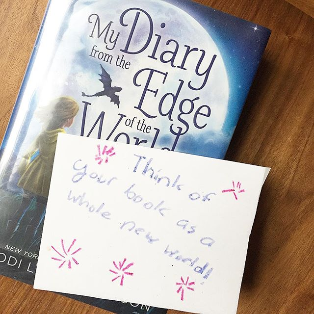 A book and a note from the 8 year old😊!! My Diary From The Edge of the World.. for Fantasy Adventure loving kiddos. #HappyTuesday