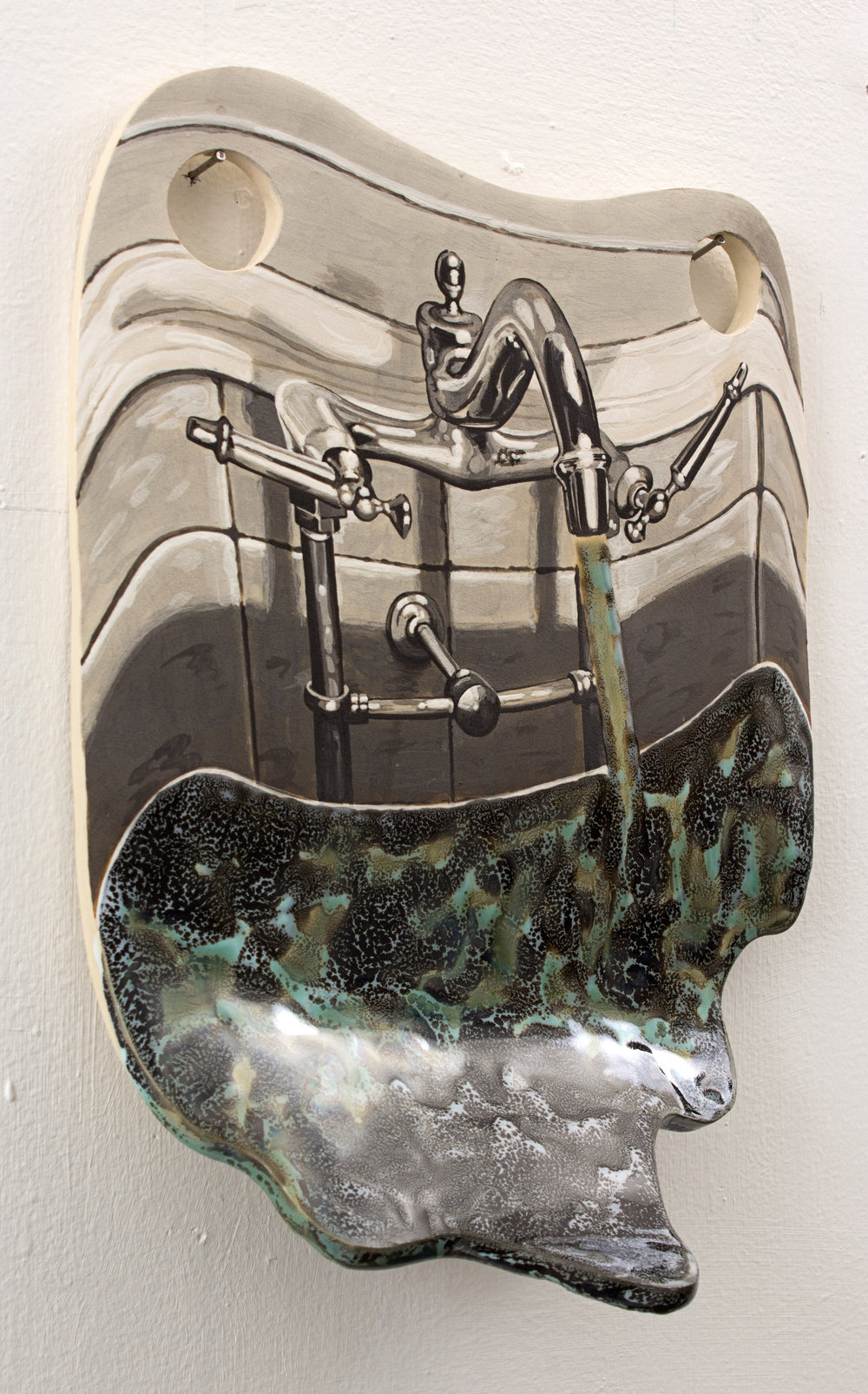 Sink  , 2016. Glazed ceramic, 12 x 9 inches