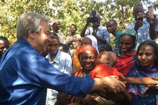 U.N. Secretary-General Antonio Guterres shakes hands with civilians at the cathedral in Bangassou, Central African Republic, Oct. 25, 2017 (AP photo by Joel Kouam).