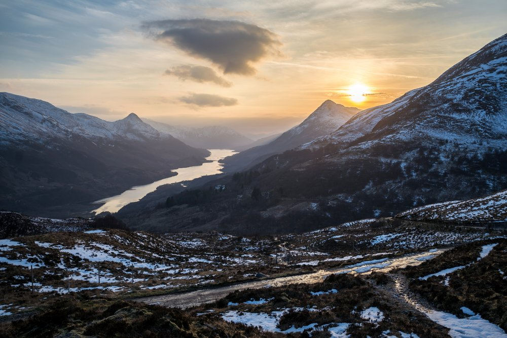 Sunset during the hike back down to Kinlochleven.