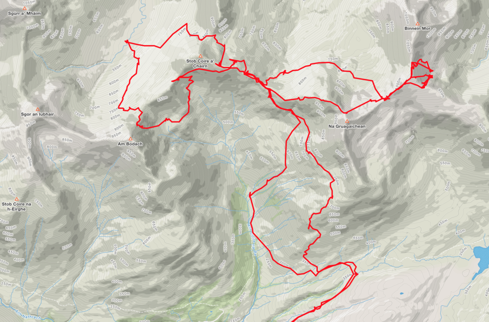 Our route over the two days. 18 miles and 10,000ft of ascent.
