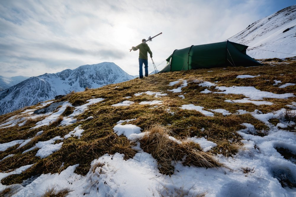 Our camp, high on the shoulder of Stob Coire a'Chairn.