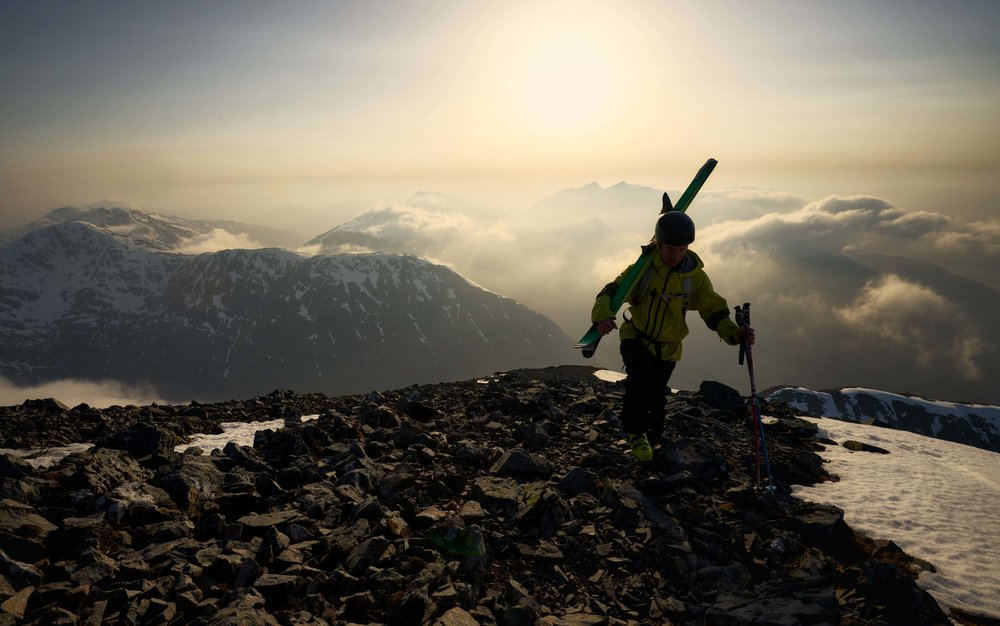 Rob Kingsland hiking the final yards towards the summit of Stob Coire nam Beith.