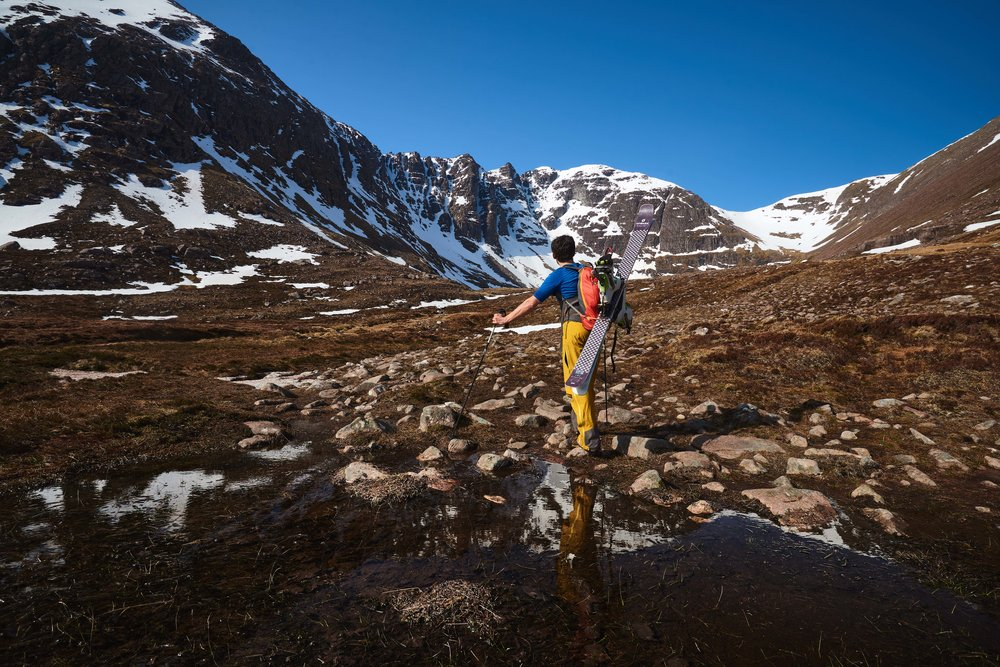 Pete Mackenzie approaching Glas Tholl, the northernmost of An Teallach's two main coires.