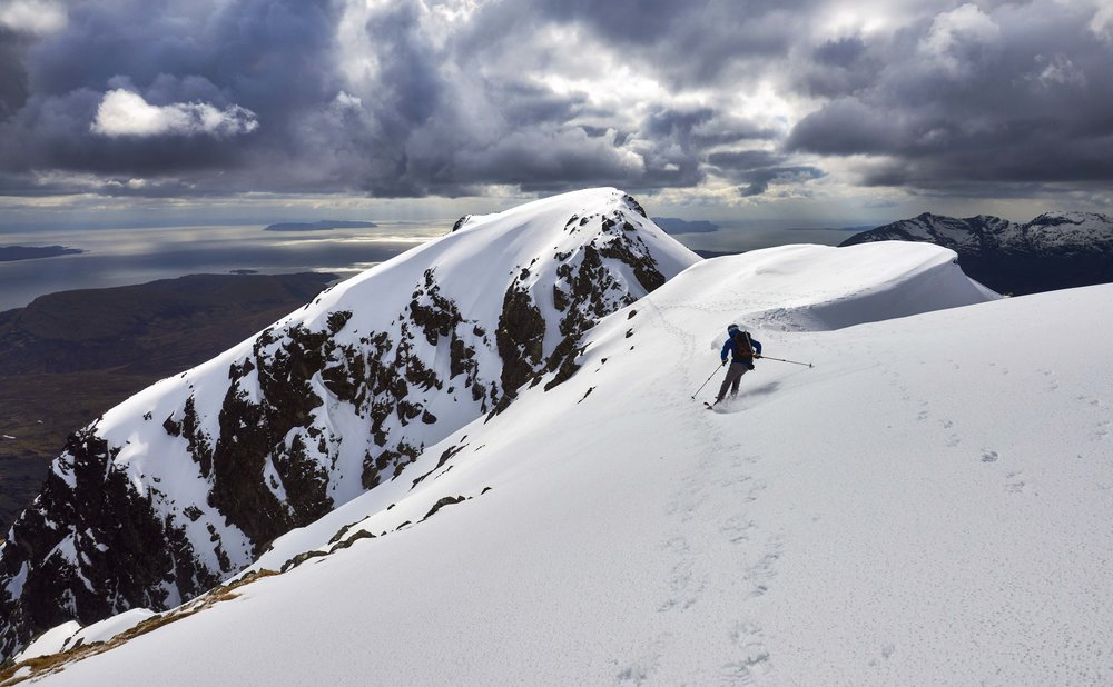 Scott skiing off the summit of Blà Bheinn towards the col linking the north and south summits. (n.b. some of these photos were from my first attempt to ski here two weeks previously)