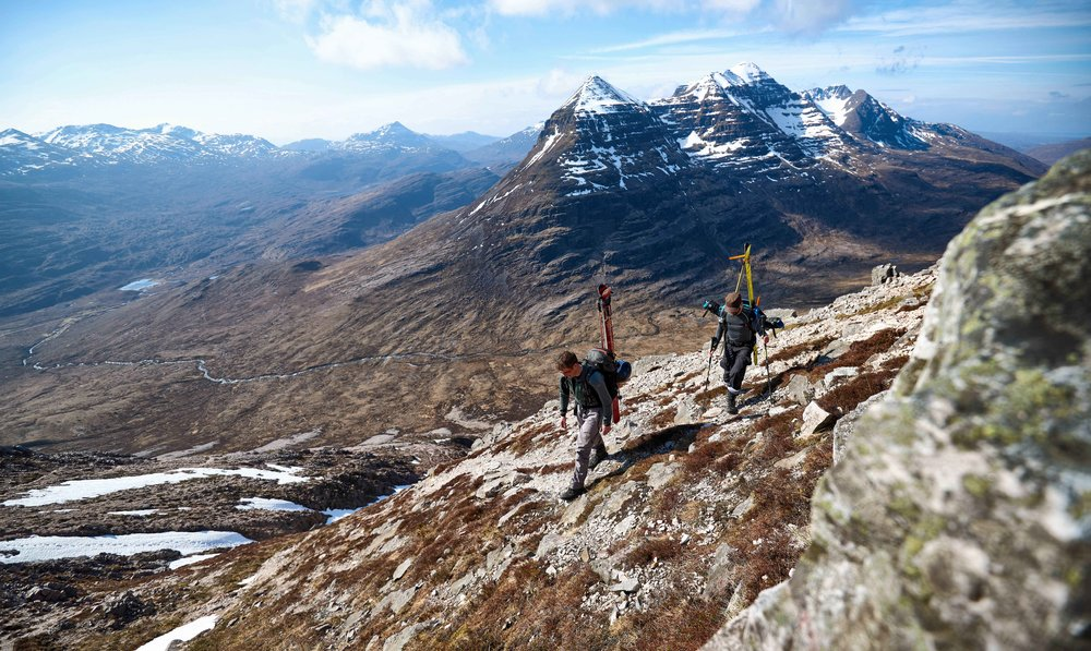 Amongst the giants of Torridon. Hiking up the south side of Beinn Eighe with the mighty ridgeline of Liathach behind.