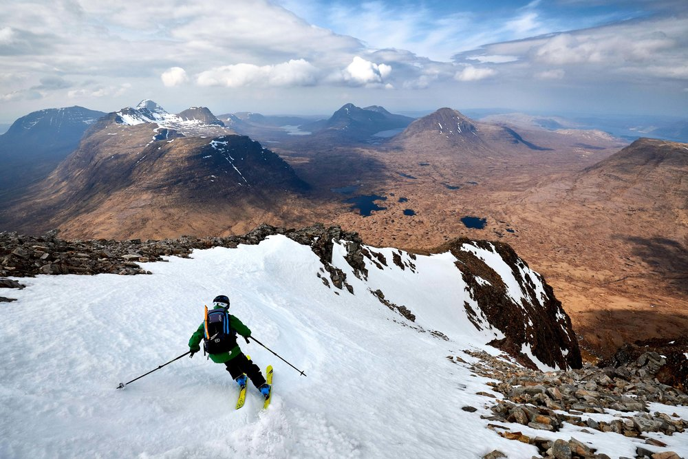 Dave skiing off the summit of Sail Mhor towards Morrison's Gully on Beinn Eighe to round off a highly productive 72hrs!