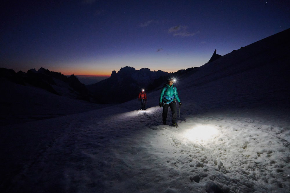 The early morning slog on the Glacier du Géant