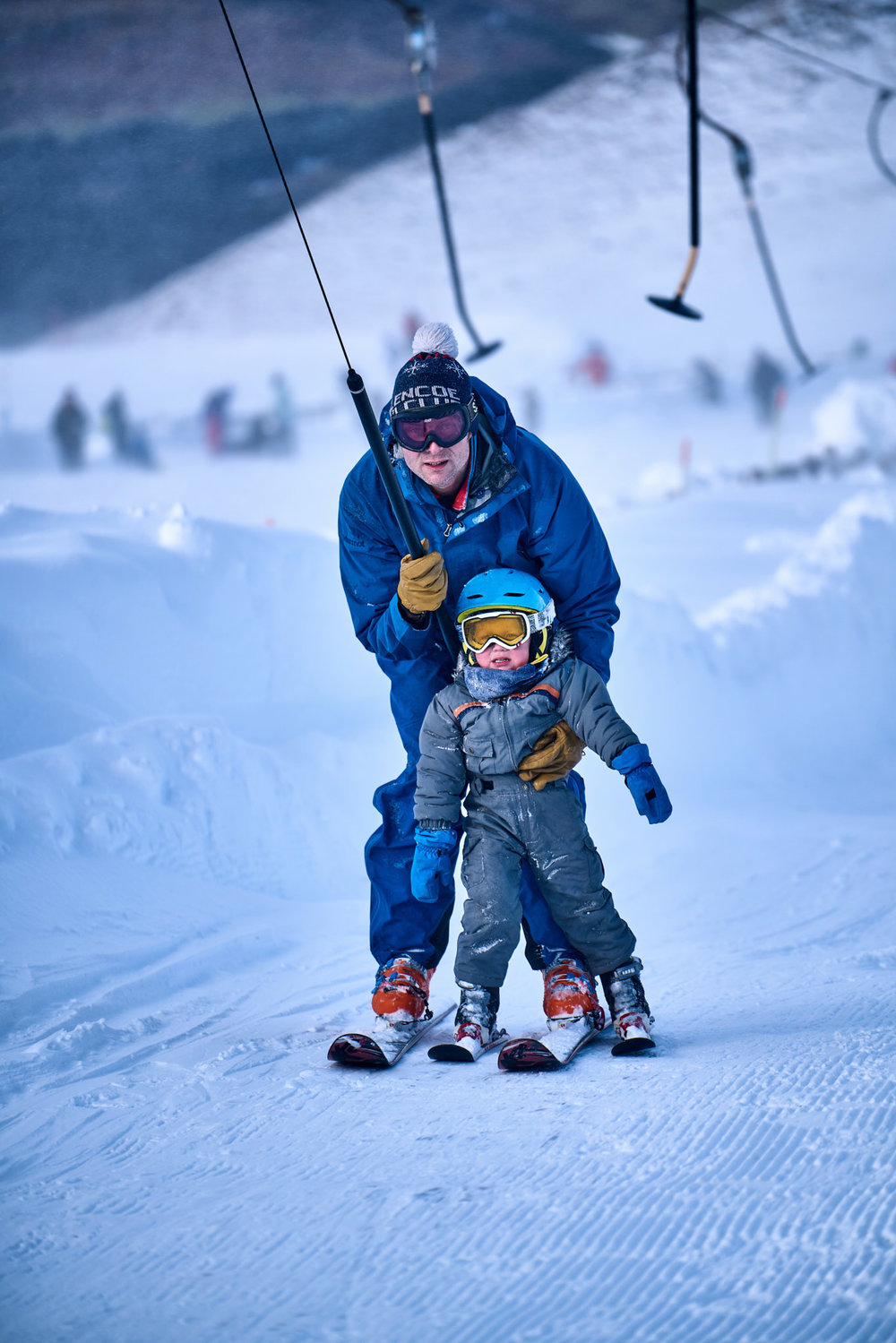 Doug Bryce and his son Murray (who probably stole the show in the film!), taking the tow lifts up at Nevis Range