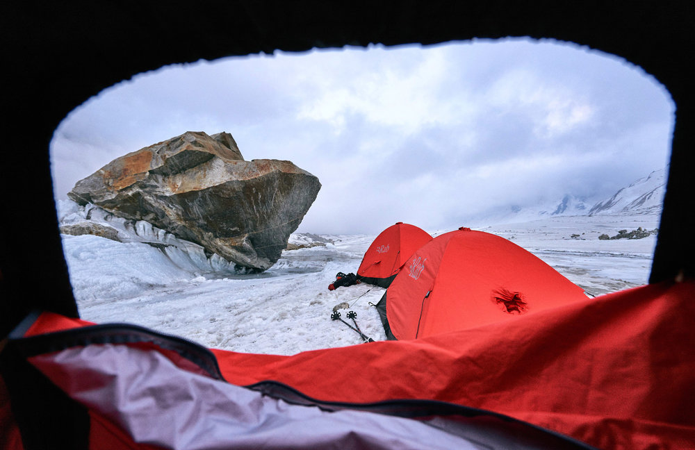 Our temporary intermediate camp between basecamp and advanced basecamp on the Gangotri Glacier