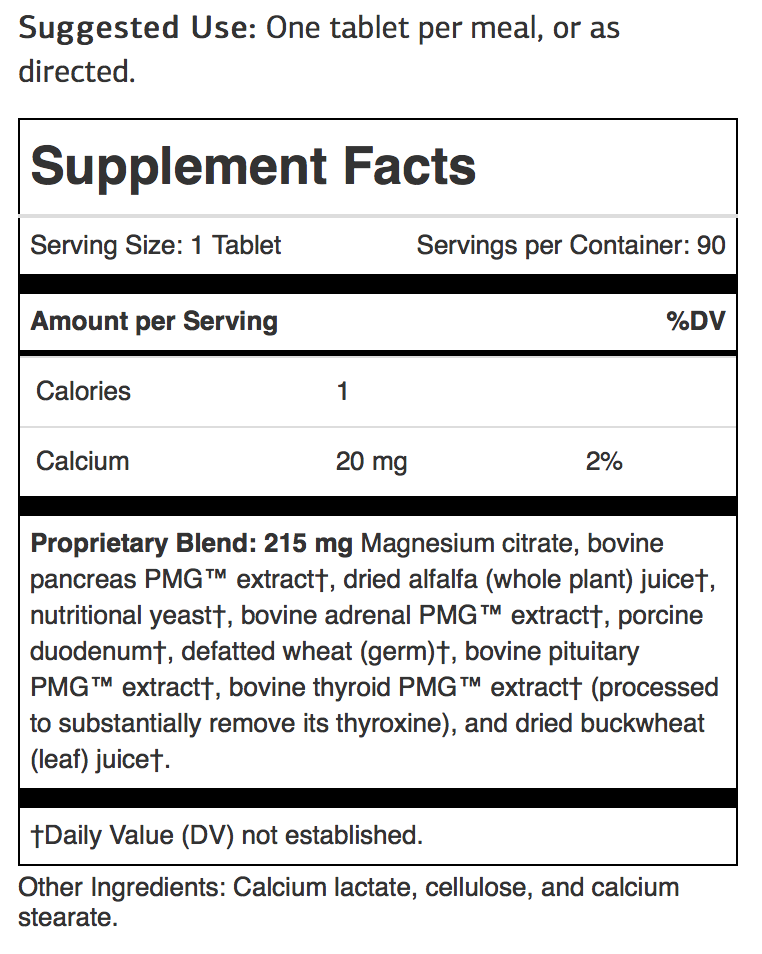 paraplex nutrition facts