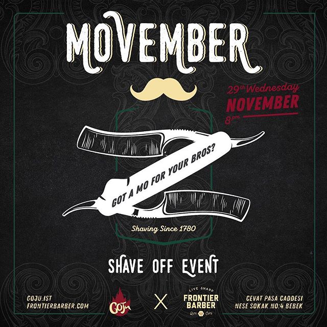 We got a little event going on today for Movember! 🥃🍔🎸#frontierbarber #livesharp #movember #shave @goju.ist