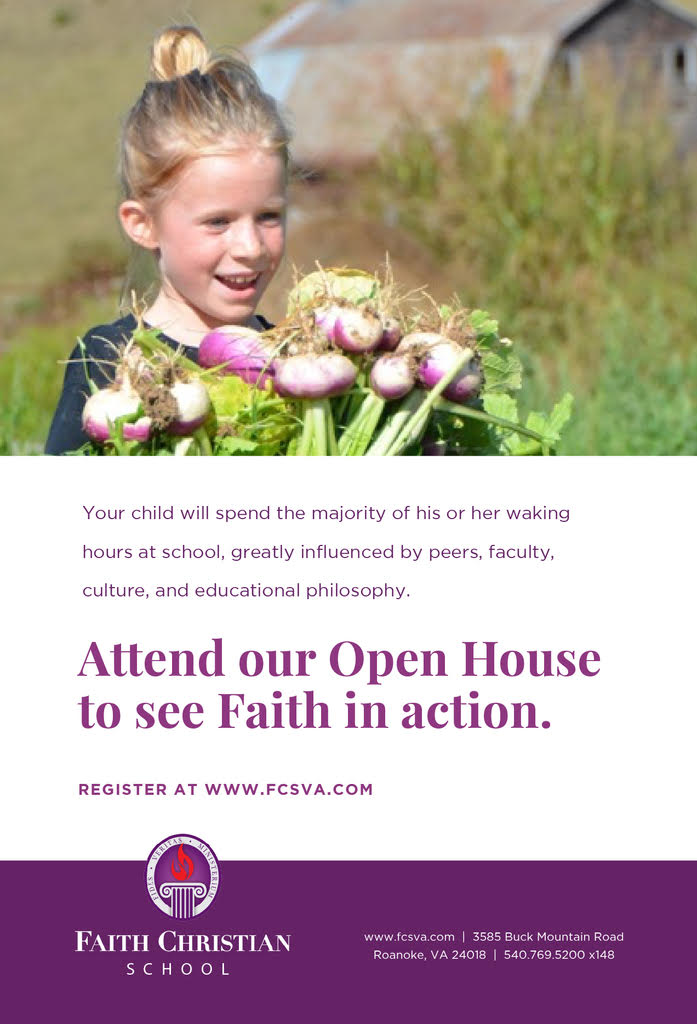Open House - Our Open House is designed to provide you with information so you are able to make this important decision about whether Faith is the best choice for your child's spiritual, intellectual, emotional, and physical growth and development. Hear from Head of School, Peter Baur, and take a student led tour of the campus!Faith Christian School is a JK-12 Christian classical independent school serving our entire region.  We are one of over 200 schools across the nation implementing a powerful and proven method of education that inspires students – a method of education that for over 2,000 years developed some of the world's finest authors, mathematicians, artists, philosophers, theologians, composers, and thinkers.Our Next Open House is March 20th from 9:00-10:30 am. Register below.