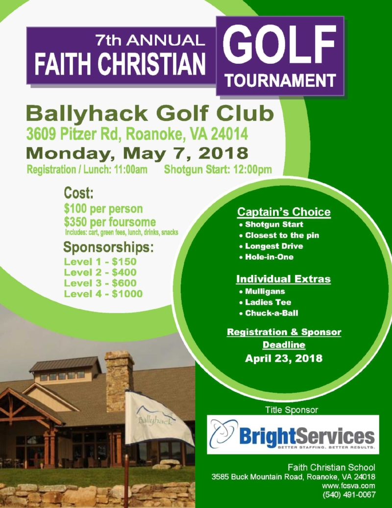 2018 Golf Tournament Page 1 Brochure
